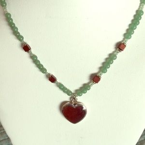 Jewelry - Sterling silver, adventurine, gold stone necklace